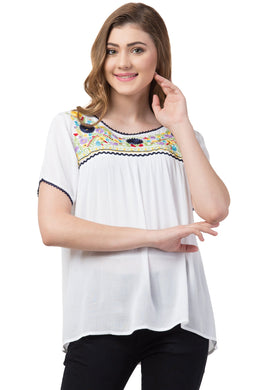 Maria Ivory Floral Embroidered Tunic Top