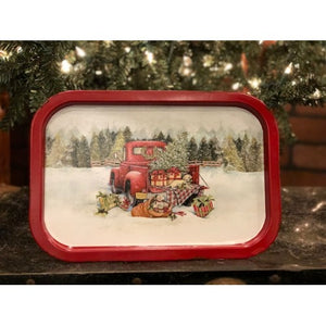 Vintage Christmas Truck Small Metal Tray