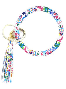 Watercolor Floral Wristlet Keyring Bangle Bracelet