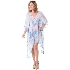 Katydid Swimsuit or Beach/Pool Cover Up (White & Blue Watercolor)