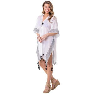 Katydid Swimsuit or Beach/Pool Cover Up (White with Black Stripes)