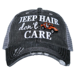 Katydid Jeep Hair Don't Care Embroidered Trucker Hat