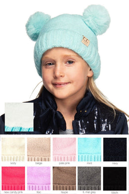 Kids CC Solid Color Double Pom Knit Beanie Hat - KIDS27