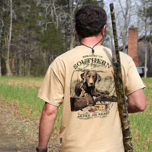 Straight Up Southern Brand - Armed and Ready - Hunting Dog Tee Shirt