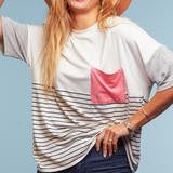 Plus Ivory Stripe Coral 3/4 Sleeve Knit Top with Chest Pocket -USA MADE