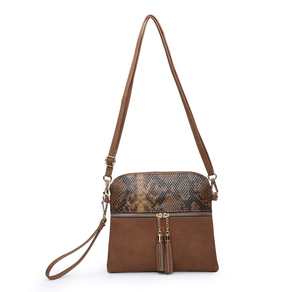 Tara Tassel Vegan Leather Crossbody Bag - Snakeskin/Brown