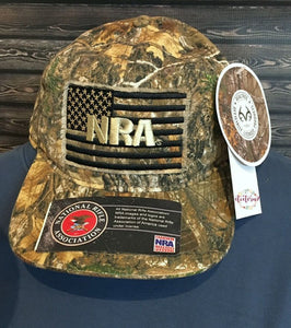 NRA Logo USA American Flag Realtree® EDGE Hunting Camo Camouflage Cap Hat