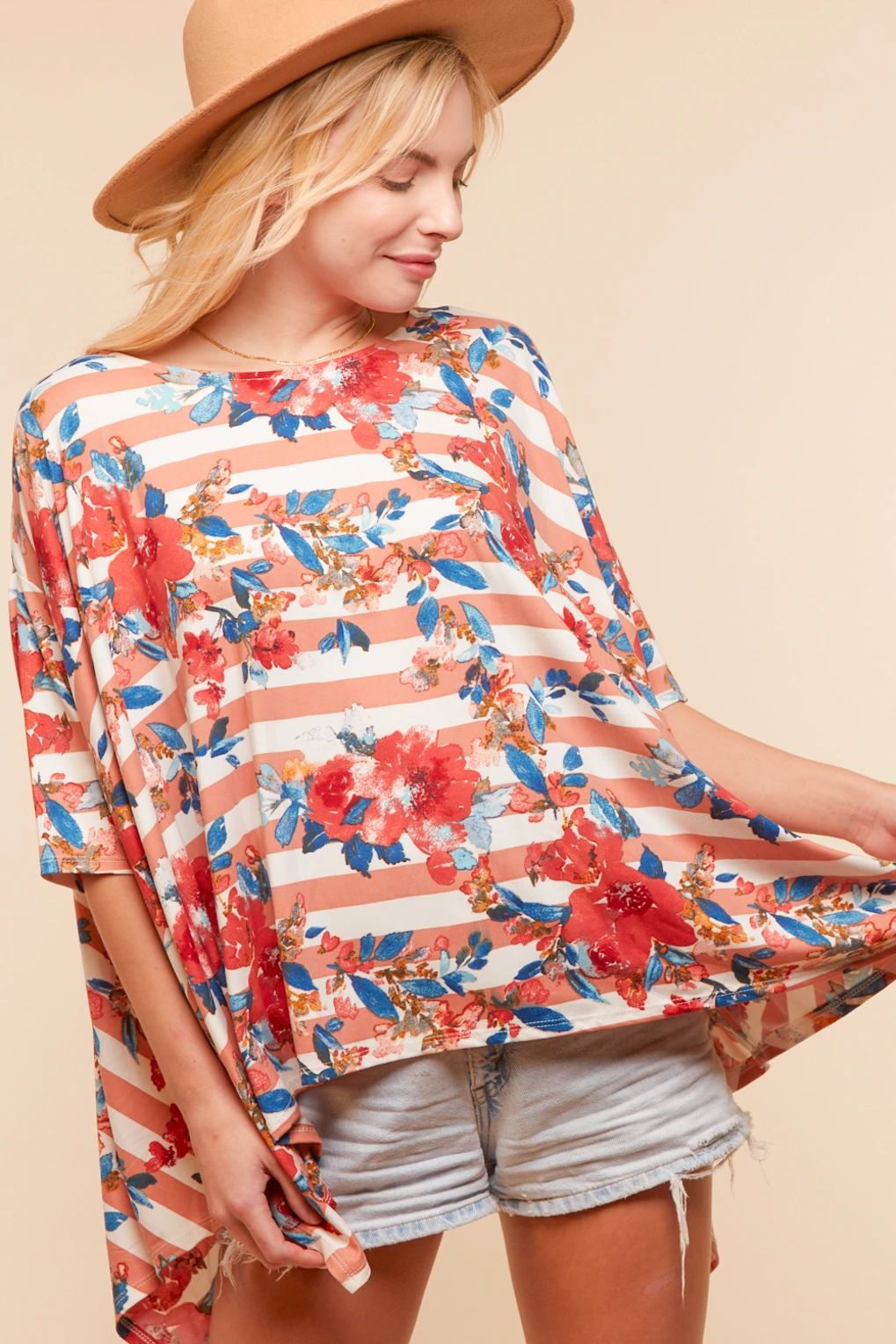 Mauve Striped Floral Print Flowy Blouse Top