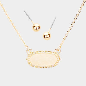 Dainty Oval Druzy Pendant Necklace & Earring Set - Ivory on Gold