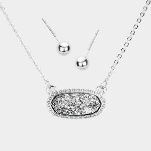 Dainty Oval Druzy Pendant Necklace & Earring Set - Silver & Hematite