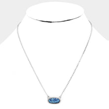 Load image into Gallery viewer, Dainty Oval Druzy Pendant Necklace & Earring Set - Blue, Silver