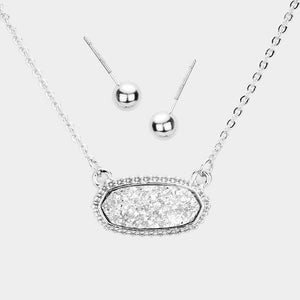 Dainty Oval Druzy Pendant Necklace & Earring Set - Silver on Silver