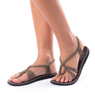 Plaka Seashell Summer Beach Flat Sandals - Taupe
