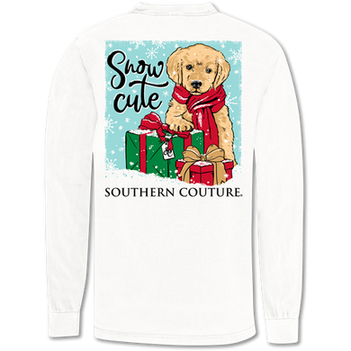 PREORDER-NEW Christmas Snow Cute Puppy Comfort Colors LS Tee
