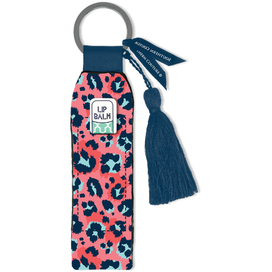 Southern Couture Keychain Lip Balm Holder - Coral Leopard