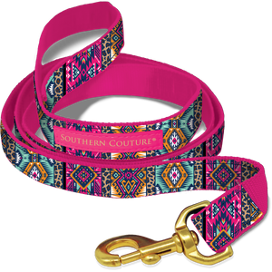 PREORDER Leopard Aztec Dog Leash by Southern Couture - Available in 2 Sizes