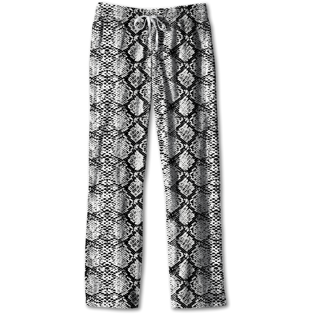 Southern Couture Lounge Pants - Black/White Snakeskin