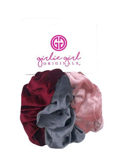 Pack of 3 Assorted Hair Scrunchies - Velvet in Solid Colors - SCR-39