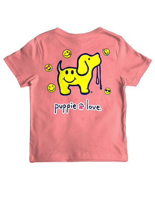 Youth Puppie Love SMILEY FACE PUP Short Sleeve Tee Shirt
