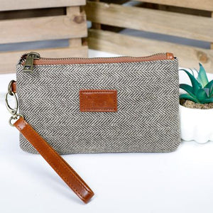 Sophie Wristlet Clutch Collection - Horizontal Brown and Cream Herringbone