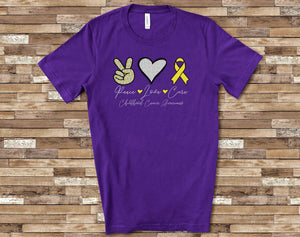 PREORDER-Peace Love Cure Childhood Cancer SS Boutique Soft Tee (Purple)