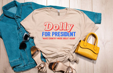 PREORDER - Retro Dolly For President SS Boutique Soft Tee