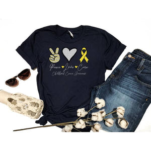 PREORDER-Peace Love Cure Childhood Cancer SS Boutique Soft Tee (Navy)