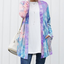 Load image into Gallery viewer, Tie Dye Long Sleeve Ribbed Knit Pocketed Open Cardigan