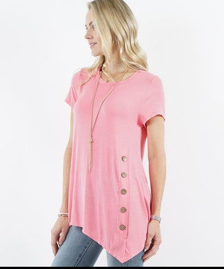 Mauve Short Sleeve Asymmetrical Hem Side Button Tunic Top