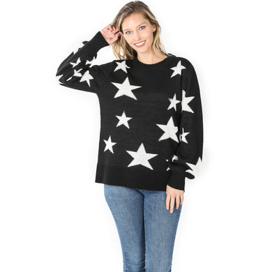 Star Pattern Black Oversized Round Neck Sweater