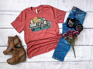 PREORDER - Farm Fresh Pumpkins Plaid Truck Boutique Soft Tee - Heather Red