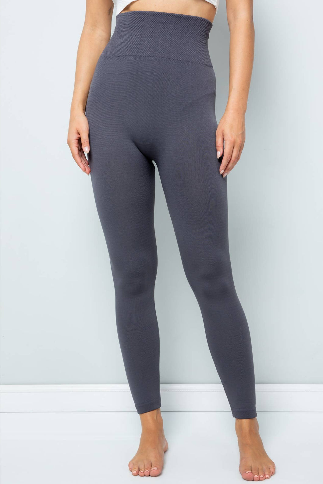 High Waisted Tummy Control Leggings (One Size) Grey