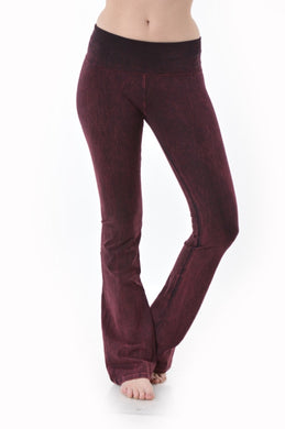 Mineral Washed Stretchy Bootcut Foldover Yoga Pants - Wine - Made In USA