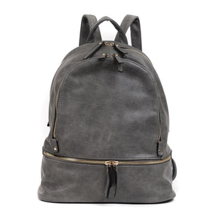 The Blake Vegan Leather Triple Zip Pocket Backpack - Charcoal - Monogrammable