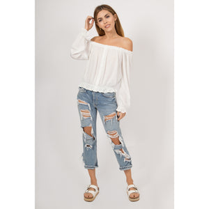Women's White Boho Off Shoulder Knit Top w/ Ruffle Details