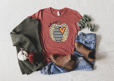 PREORDER - Hello Fall Leopard Stripe Pumpkin Fall Boutique Soft Tee