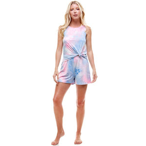 Pink & Blue Tie Dye Loungewear Set - Top & Shorts - Made in the USA