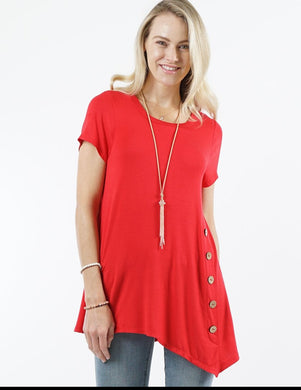 Red Short Sleeve Asymmetrical Hem Side Button Tunic Top