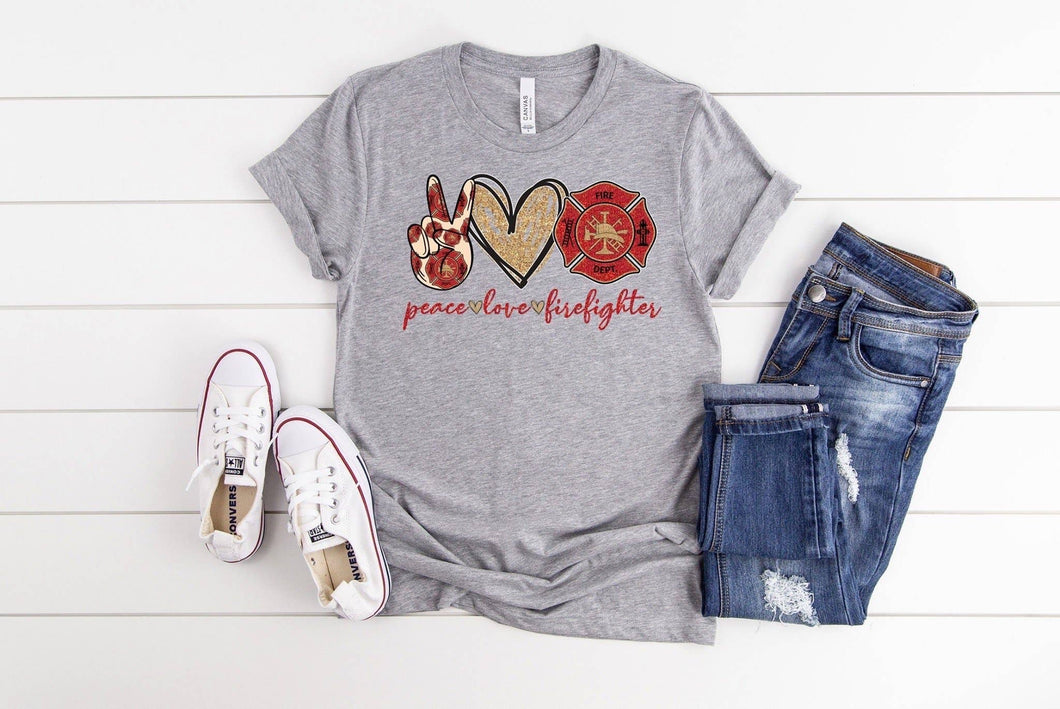 PREORDER - Peace Love Firefighter SS Boutique Soft Tee