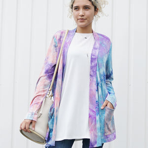 Tie Dye Long Sleeve Ribbed Knit Pocketed Open Cardigan