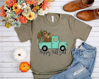 PREORDER - Happy Fall Y'all Teal Truck Fall Boutique Soft Tee