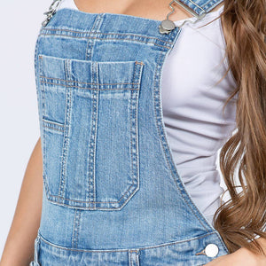 Back In Stock - Distressed Washed Denim Slim Fit Overalls - Blue