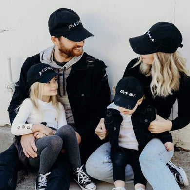 Friends Family Embroidered Distressed Black Baseball Hat-MAMA, DADDY, KIDDO, BABY