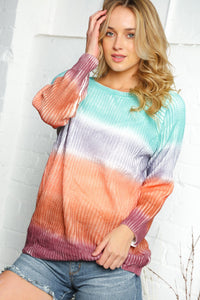 Multi-Colored Striped Tie Dye Sweater
