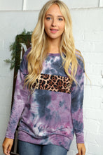 Load image into Gallery viewer, Curvy Navy & Purple Tie Dye w Leopard Color Block Pullover Sweatshirt - USA MADE