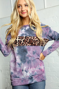 Curvy Navy & Purple Tie Dye w Leopard Color Block Pullover Sweatshirt - USA MADE