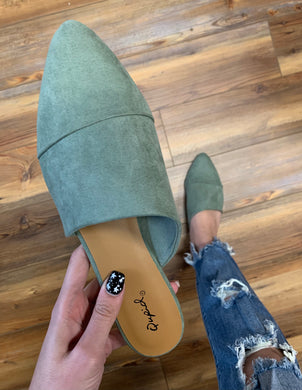 The Jasmine Mule - Faux Suede - Sage