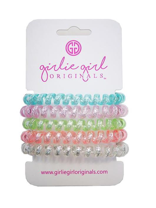 Telephone Cord Hair Ties - Light Blue/White Glitter - TC16