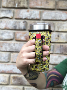 Bees & Sunflowers Neoprene 20oz Tumbler Holder with Pocket Handle-Fits YETI®