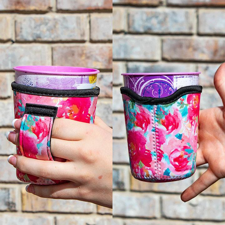 Summer Floral Neoprene Wine Tumbler/Mason Jar/Kids Cups Cooler with Pocket Handle